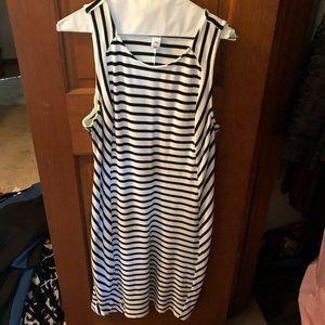 White black striped old navy dress